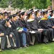 Graduating students seated for commencement ceremony